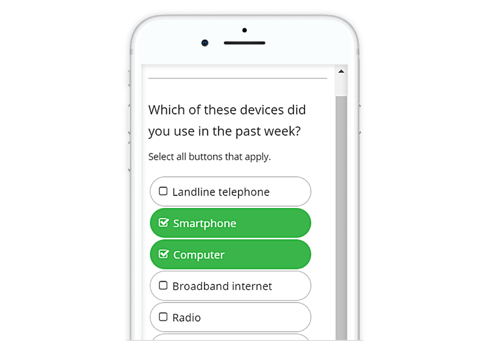Guide to Designing Mobile Surveys Multi select button select
