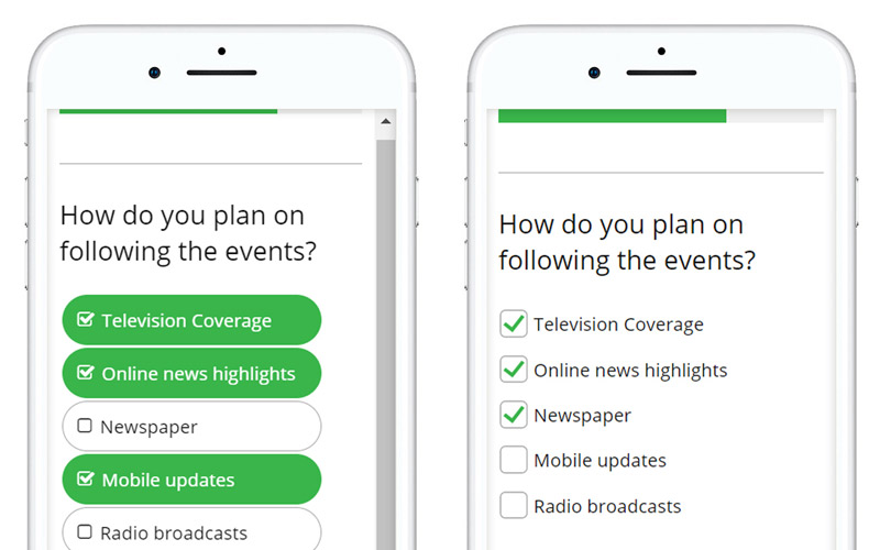Guide to Designing Mobile Surveys Instead, use large buttons or adjust the spacing and layout for the checkboxes.